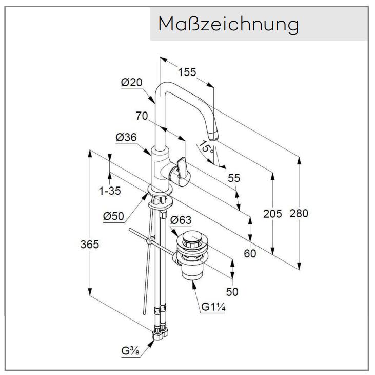 waschbecken Armatur Mischer Kludi Pureueasy 37023 Masszeichnung